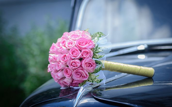 Download wallpapers wedding bouquet, pink roses, bridal bouquet, roses, pink flowers, wedding