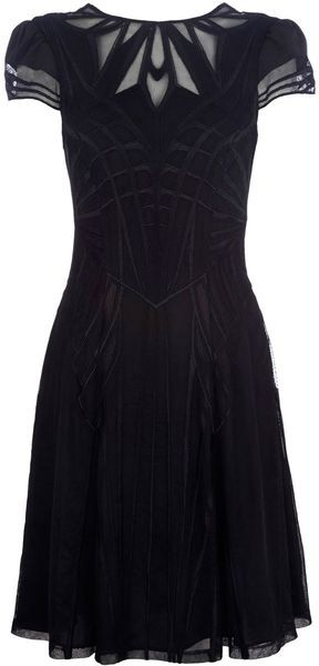 Karen Millen Geometric Embroidery Dress in Black - Lyst  KAREN MILLEN  Black Geometric Embroidery Dress  Full skirted sheer dress with cut out back detail and all over embroidered design.. Shift dress. Plain. Polyester 100%