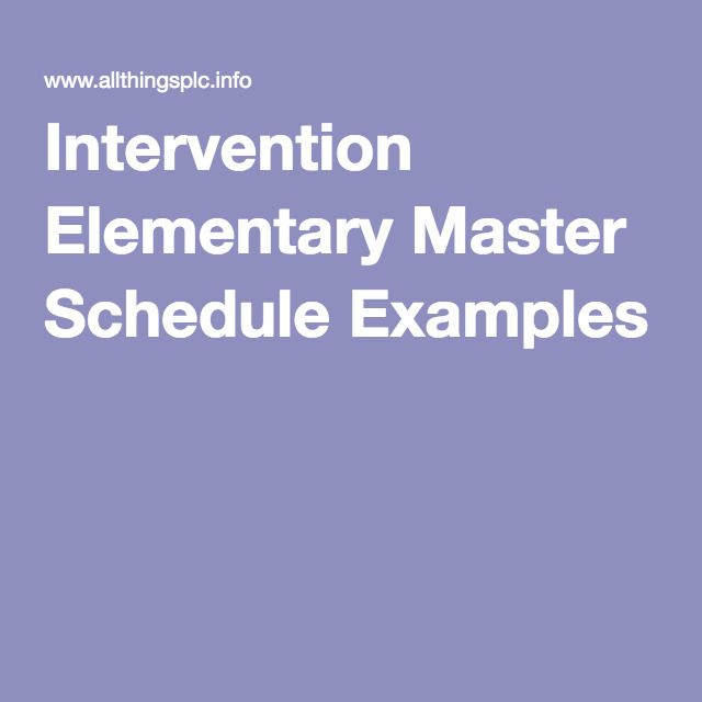 Intervention Elementary Master Schedule Examples