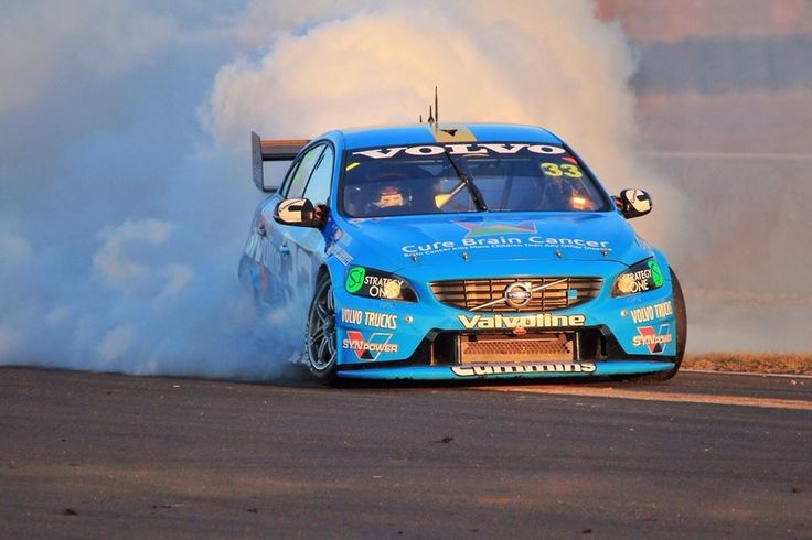 Burnout after winning at Eastern Creek. Polestar Volvo V8 Supercar.