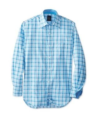 55% OFF TailorByrd Men's Stratolnr Long Sleeve Checked Hidden Sportshirt (Teal)