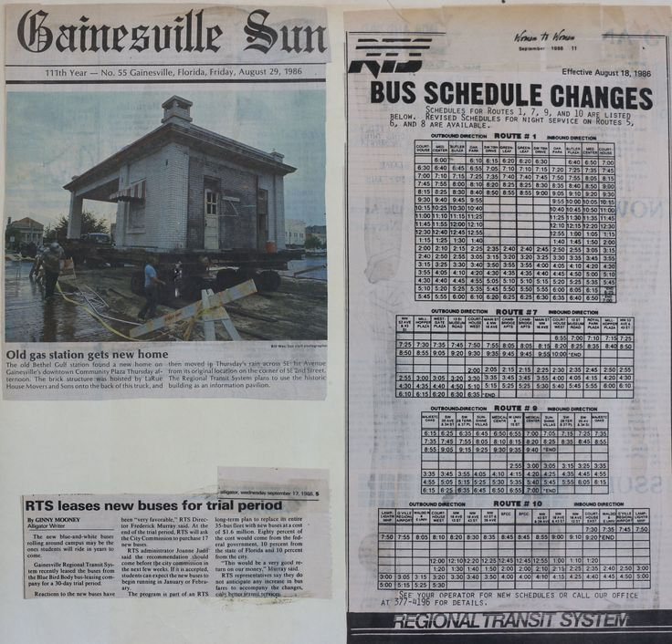 """News Articles, bus schedule changes effective 8/18/86 """" Old gas station gets new home"""" -Sun 8/29/86 """"RTS leases new buses for trial period"""" -Alligator 9/17/86"""