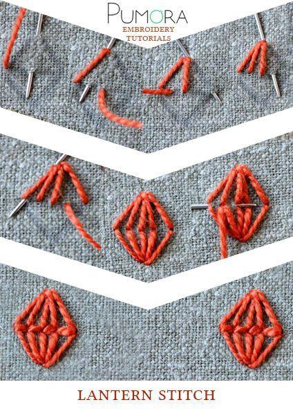 Pumora's embroidery stitch lexicon: the lantern stitch