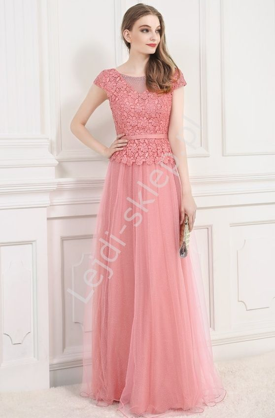 Long coral dress. Dress for wedding, prom. Długa suknia z gipiurowa koronką | suknia dla mamy, suknia dla druhen, sukienka wieczorowa. www.lejdi.pl
