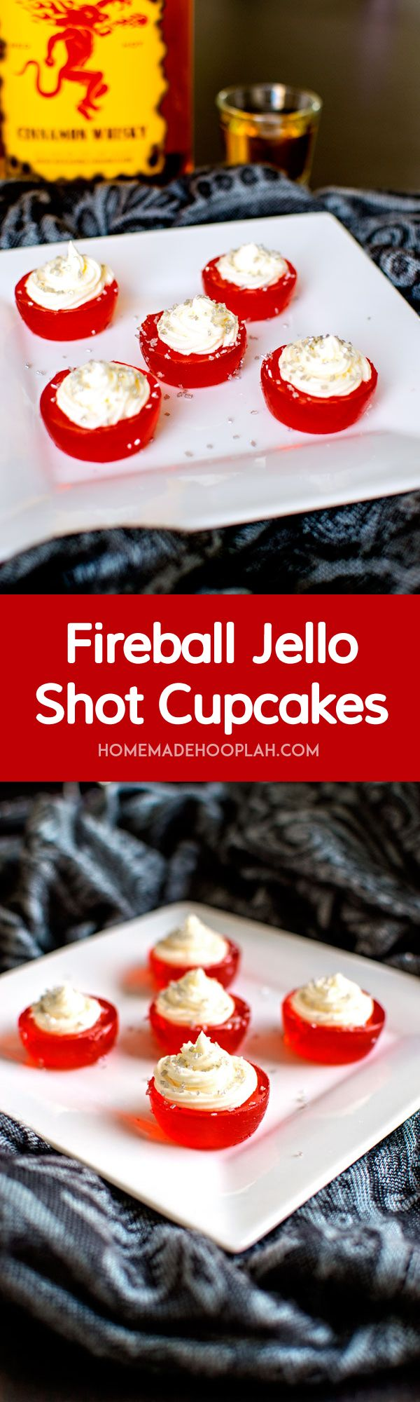 Fireball Jello Shot Cupcakes! These Fireball Jello Shot Cupcakes are infused with Fireball whisky and topped with Fireball butter cream frosting. Another way to warm up your holiday! | HomemadeHooplah.com