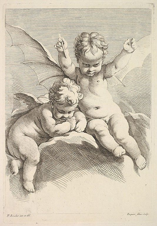 Jacques Gabriel Huquier (French, 1730–1805). Two Cupids, One with Bat Wings. After François Boucher (French, 1703–1770). The Metropolitan Museum of Art, New York. The Elisha Whittelsey Collection, The Elisha Whittelsey Fund, 1957 (57.559.39(4)) #bat #cupid