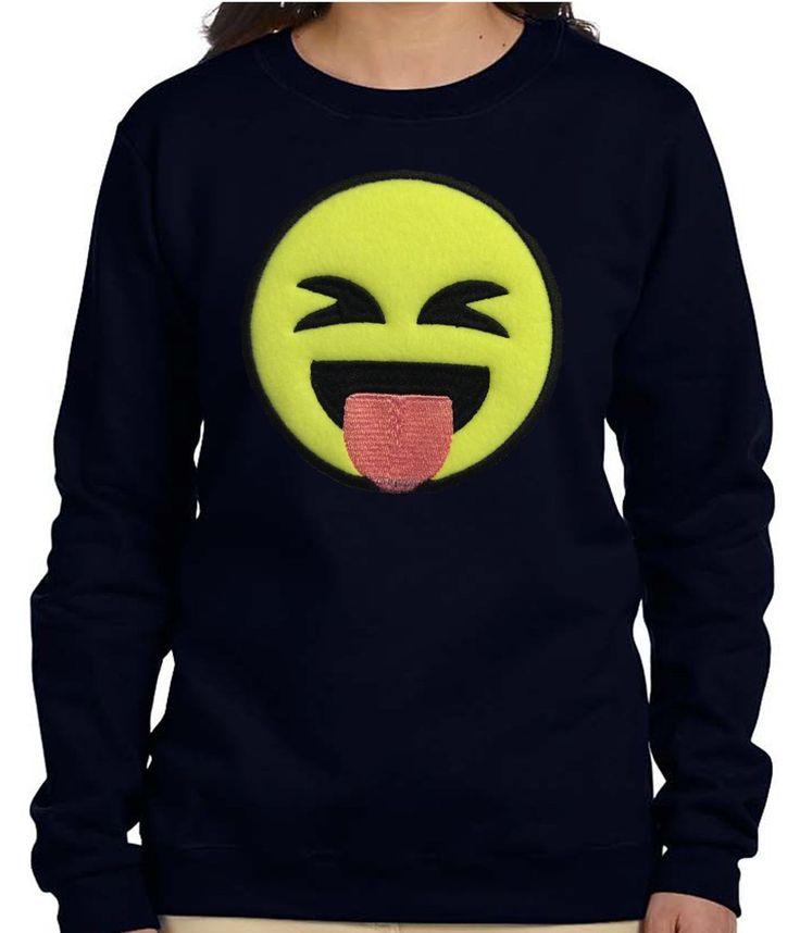 Black Women Stuck Out Tongue Face Emoji Sweatshirt