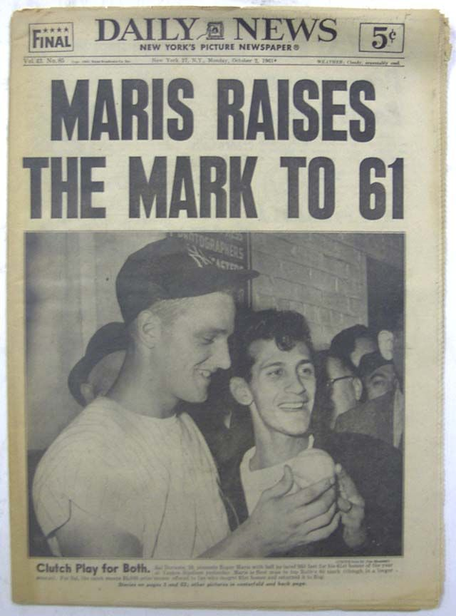 Maris Raises The Mark To 61... breaking the home run record... DAILY NEWS, New York, October 2, 1961 newspaper...