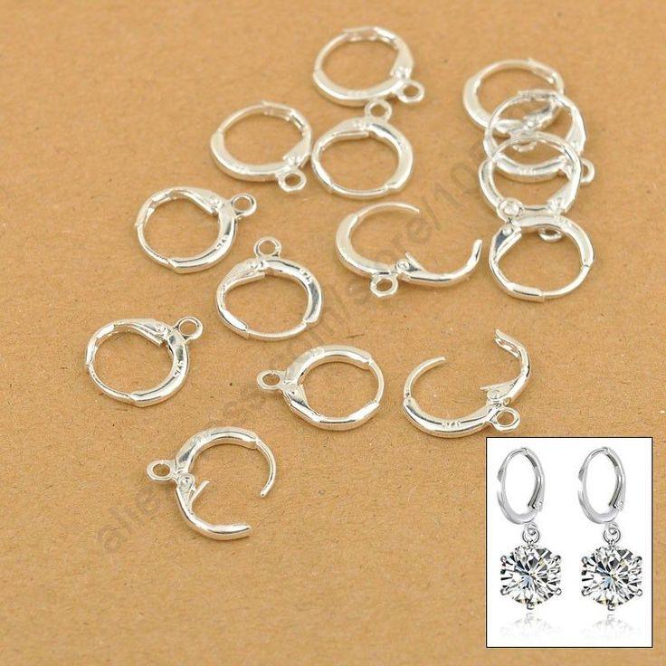 Pretty Handmade Jewelry Findings 20PCS(10Pair) Real Pure 925 Sterling Silver Earrings Jewellery Leverback Ear Earwires 12MM