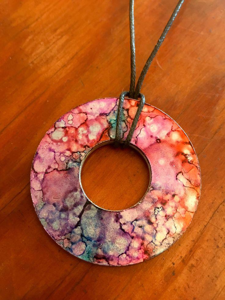 Alcohol-Ink Washer Necklace 'Tangerine Sunset