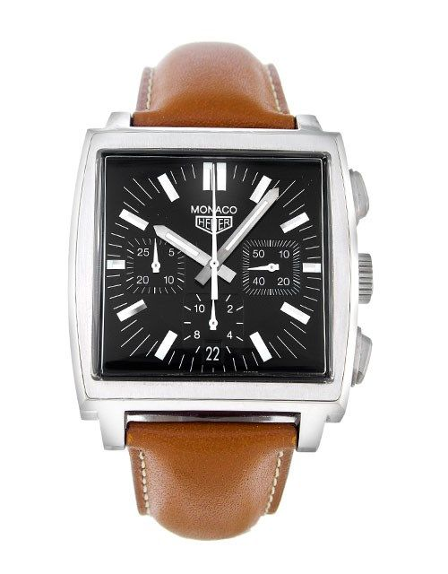 The classic Tag Heuer Monaco CS2111.FC8119 looks great with a brown leather strap