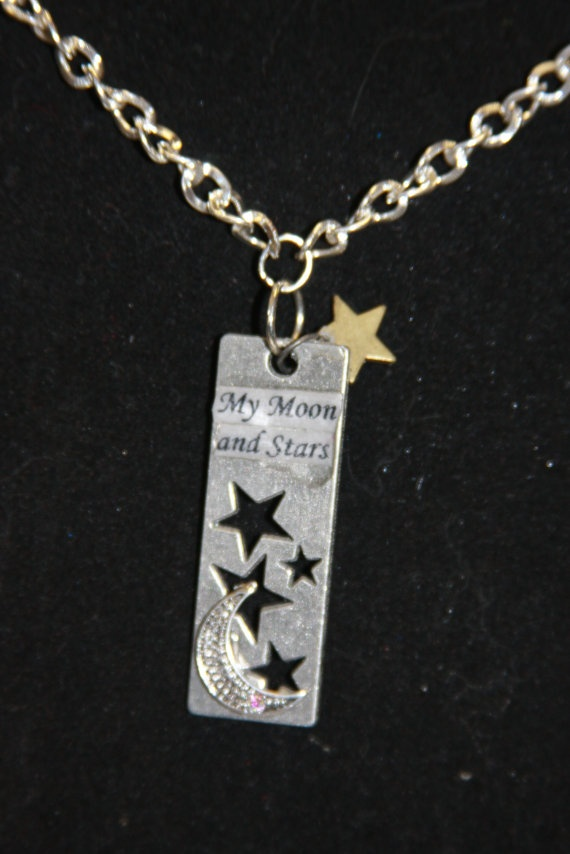 My moon and stars metal rectangle cut out stars by hudathotjewelry, $15.00