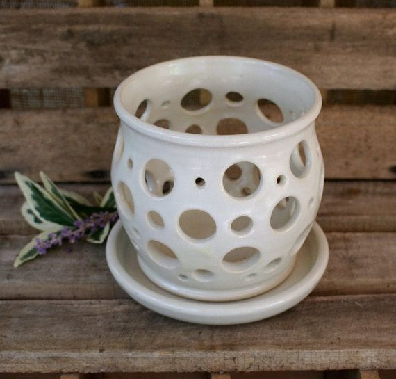 Stoneware Orchid Pot  Orchid Planter by MovingMudPottery on Etsy