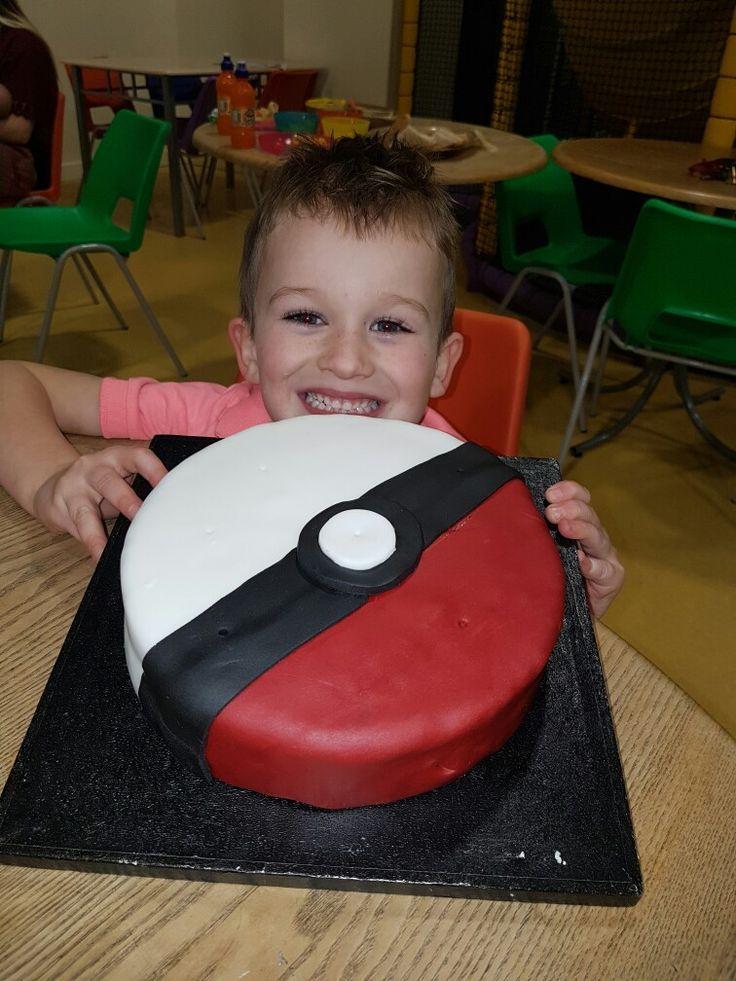 My little boys pokaman ball cake