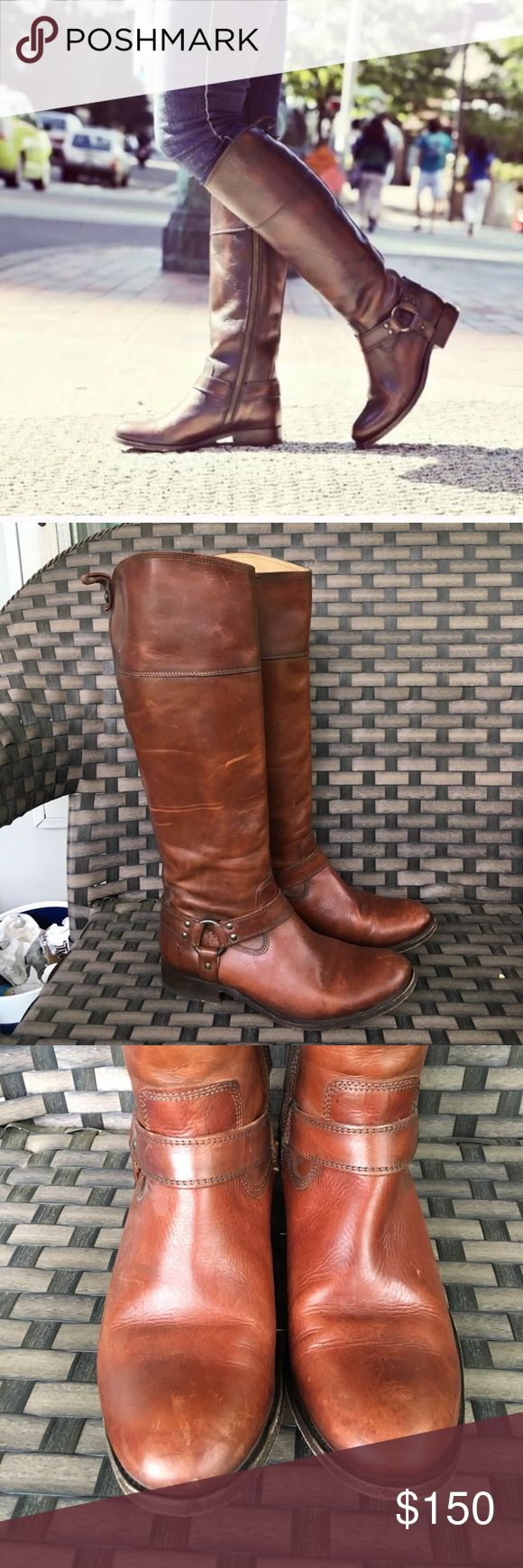 "Brown tall frye Melissa harness riding boot 10 Calf 16"" good preowned condition Frye Shoes Heeled Boots"