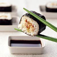 Sushi met gerookte kip, Japans,hapje,16 personen,koken,[Feestelijke buffetten en borrelhapjes]