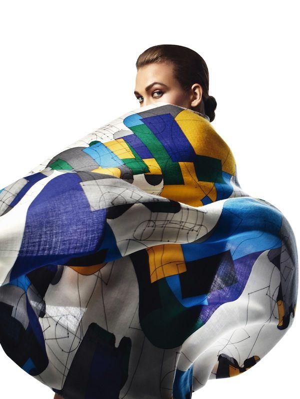 Karlie Kloss wears Hermès Scarves by David Sims for Harper's Bazaar Spain, April 2013.