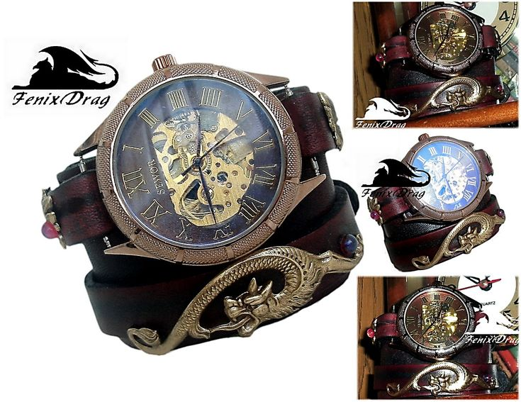 Wide leather bracelet cuff bangle with mechanical watch with mythical wolf in Steampunk style jewelry