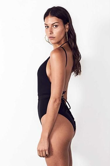 MID-MESH ONE PIECE in BLACK