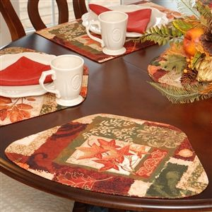 wedge placemats fall patchwork leaf print wedgeshaped round table placemat at