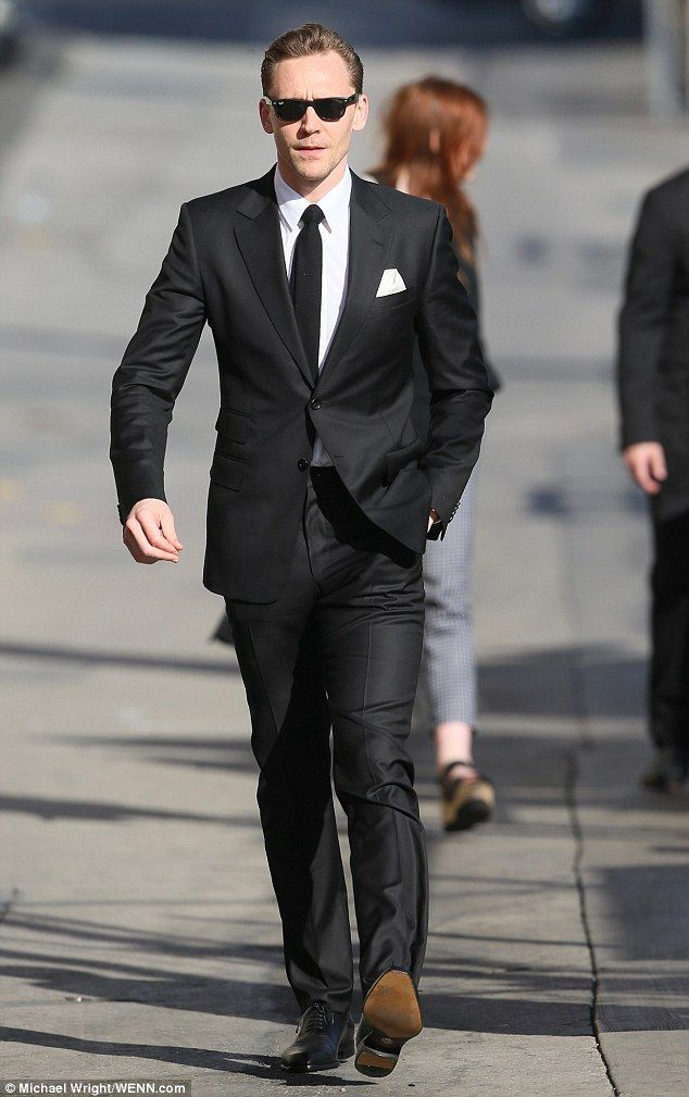 Englishman in LA: He strolled nonchalantly along to Kimmel's studio on Hollywood Boulevard with one hand in his trouser pocket and sporting stubble and Ray-Bans