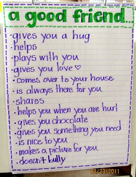 I love this list of how to be a good friend. Introduce the topic at circle time, and write down the children's suggestions on big paper.