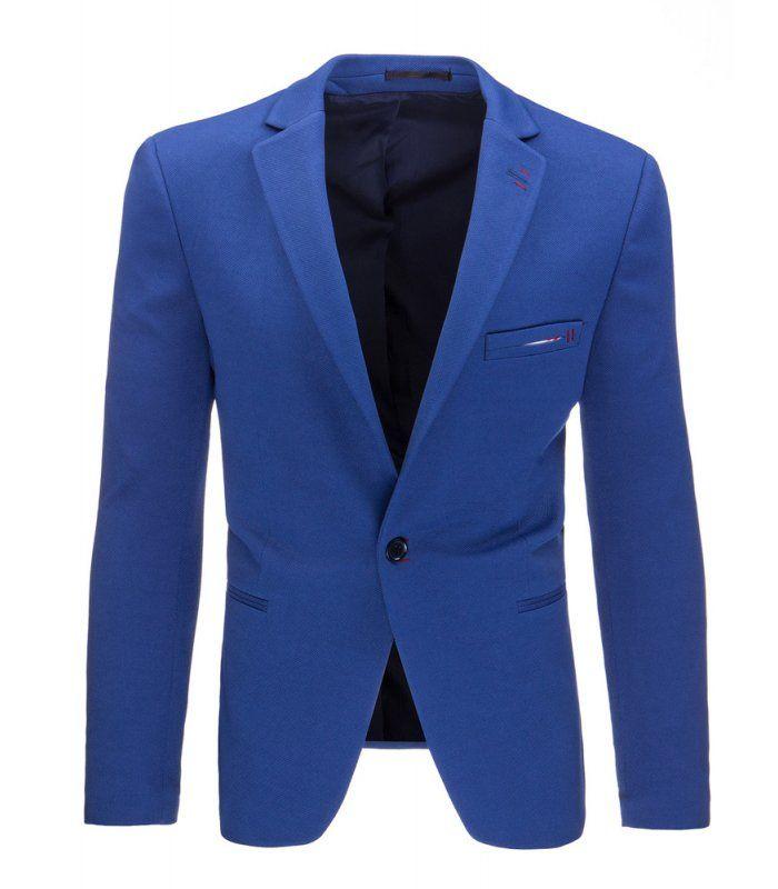 Pánske jednoradové sako v ležérnom štýle. Modré. Zapínanie na jeden gombík. Ľahko zúžená. Výborne sa prispôsobí každej postave. Dve vrecká vonkajšie a dve vnútorné. Vhodné na celodenné nosenie a obzvášť na večerný styling.