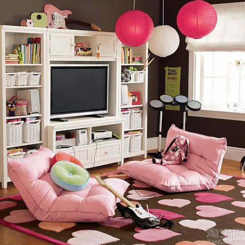 I like the pink chairs.. I wouldn't do the tv in a teen bedroom, but I like the general look of this space