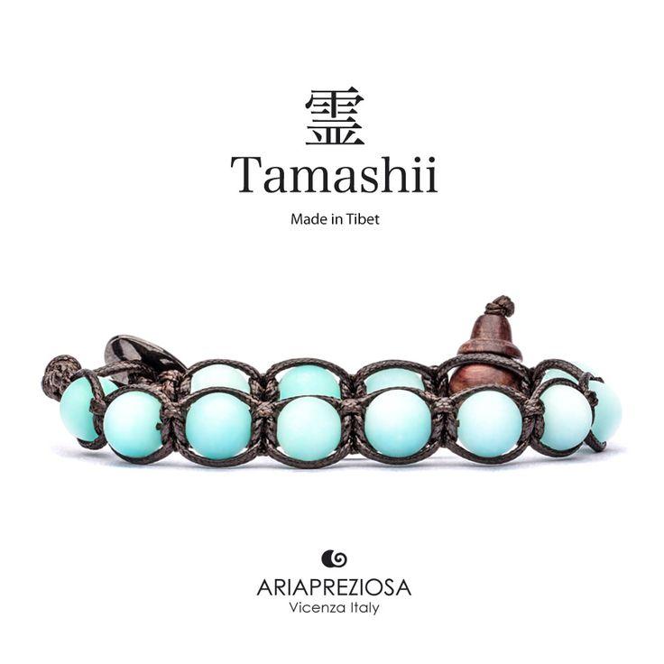 Tamashii - Bracciale Tradizionale Tibetano Agata Azzurra Satinata (Matting)
