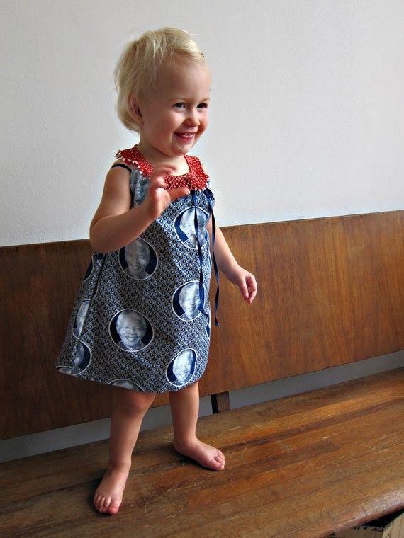 Nelson Mandela shweshwe dress from South Africa for little girls for $25 on ETSY from vogelki