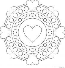 Free mandalas coloring > Heart Mandala Designs 1 페이지