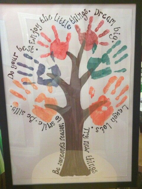 Family hand print tree hand print designs pinterest for Family arts and crafts