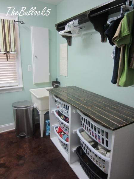Laundry Dresser folding area and hanging shelf | Do It Yourself Home Projects from Ana White - Build it in two sections and add casters to the bottom so you can roll it around and it will be easier to move.