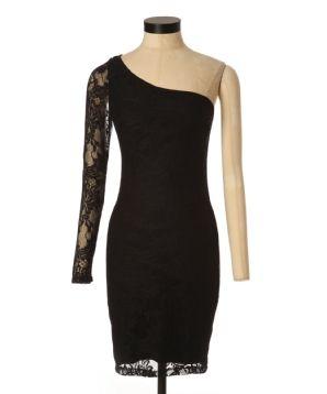 Kismet jessica holiday one sleeve black lace dress
