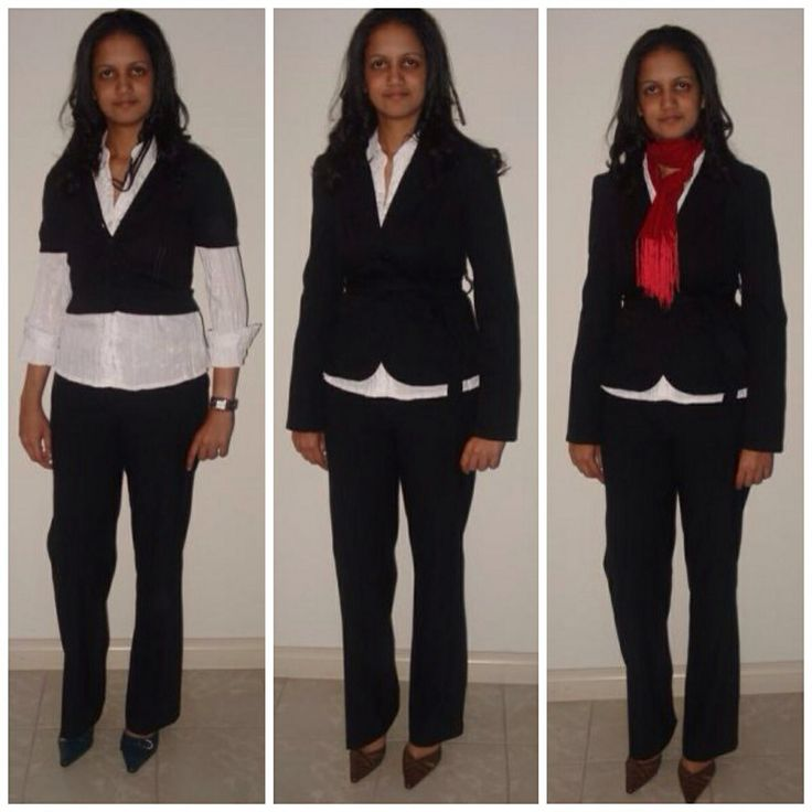Same basic black pants & white shirts but created 3 looks  by wearing a cardigan & rolling up the cuffs, or wearing a tailored jacket with the shirt hemline showing & a scarf for a pop of colour!  www.instyleconsulting.com.au
