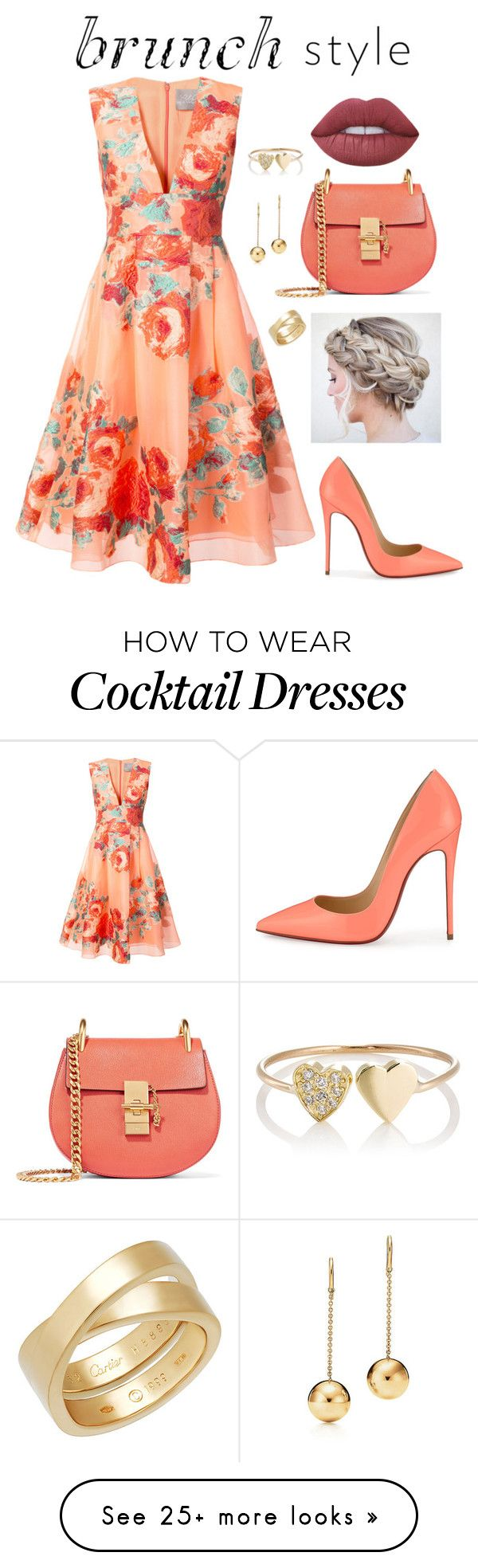 """Brunch Style"" by k-zaldi on Polyvore featuring Lela Rose, Christian Louboutin, Chloé, Lime Crime, Cartier and Jennifer Meyer Jewelry"