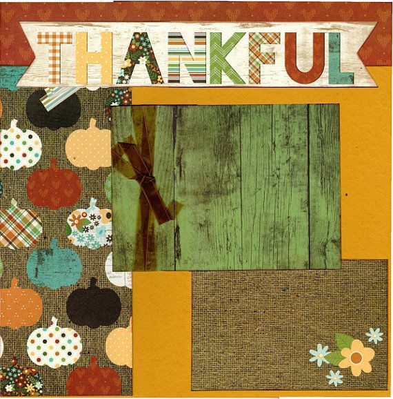 2 page Scrapbooking Page kit Thankful by CropALatteToGo on Etsy