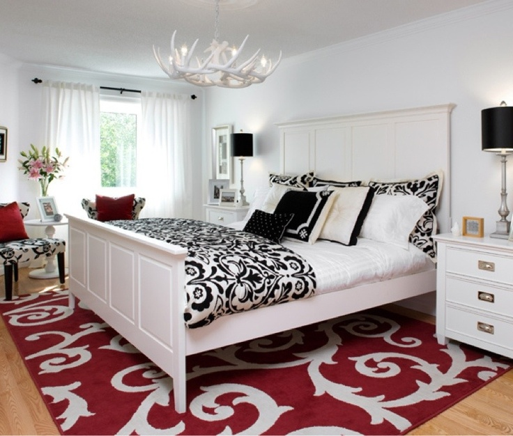 Red, White And Black Bedroom Damask With Antler Chandelier   Country  Sophistication