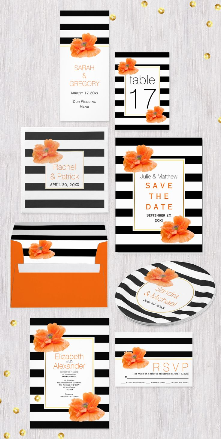 Coral poppies and black white striped pattern wedding invitations collection