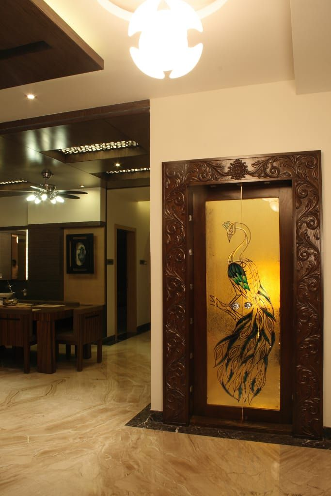 Image Result For Mantras On Pooja Room Door: Residence Of Mr.murali And Shridhar Modern Houses By Hasta