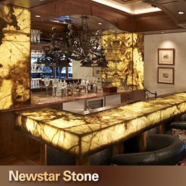 Bar top onyx and wall panels. | Designer Stone Panels | Pinterest ...