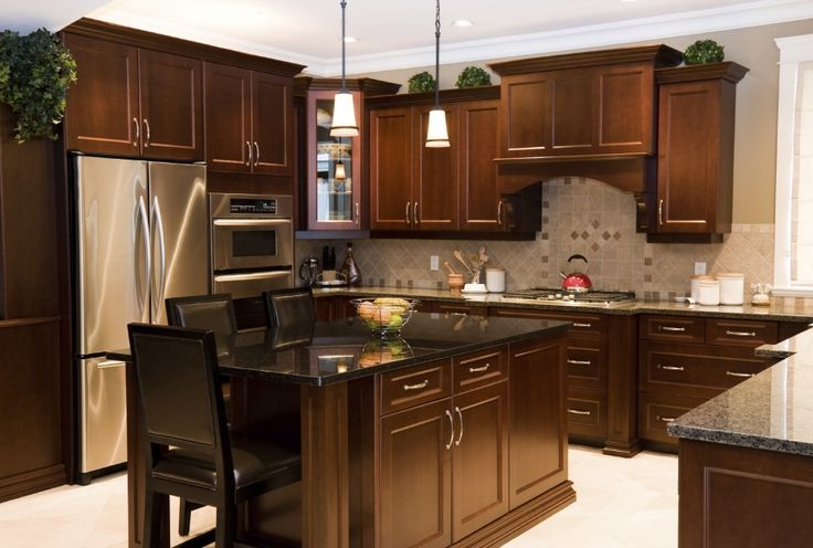 Stylish U-Shaped Kitchen Design With Dark Brown Wooden Element On Cabinet And Island Storage Combined With Brown Marble Counter Top Plus Decorated With Modern Kitchen Appliances And Hanging Pendant Lamp Ideas For Exclusive Design Of Brown Marble Kitchen Decoration Ideas. This is my favorite design. impression of elegant and stylish is strong here. Using dark brown kitchen furniture combined with brown marble counter top. this ideal kitchen is the desire of every mom.