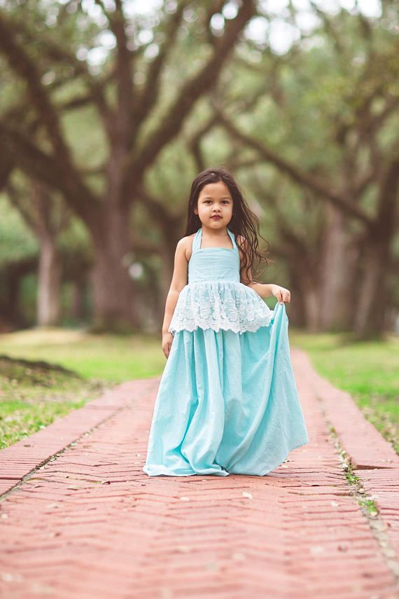 87362d3b5 Blue Flower Girl Boho Dresses, Bohemian Junior Bridesmaid Dress, Linen Lace Maxi  Dress, Country Rustic Dress, Princess Cinderella Dress
