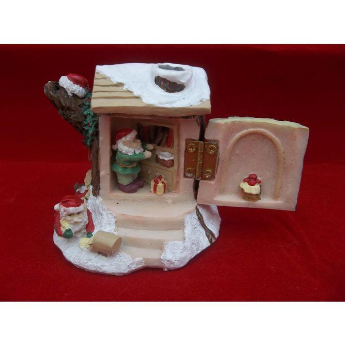 San Francisco Music Box Company Musical Christmas Tree Stump Santa Elves   #SanFrancisco #MusicBox #Company #Santa #Elves #Christmas #Tree #Stump #Collectible #eBid
