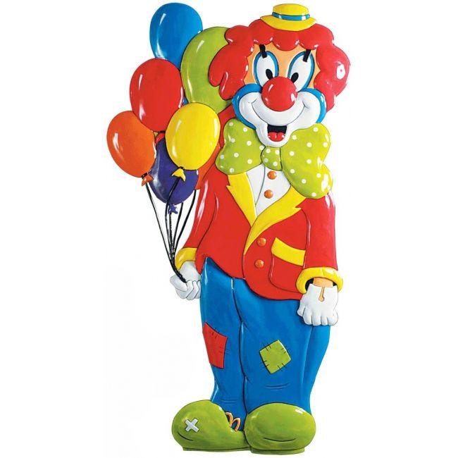 3D wanddecoratie clown met ballonnen. carnaval decoratie van PVC in de vorm van een clown met een tros ballonnen. Formaat: ongeveer 100 cm.