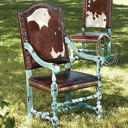 Lonestar western decor turquoise hair-on-hide chair.