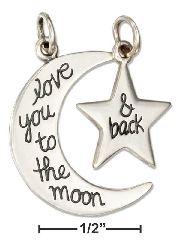 """Sterling Silver Moon And Star """"Love You To The Moon & Back Message Charm Set"""