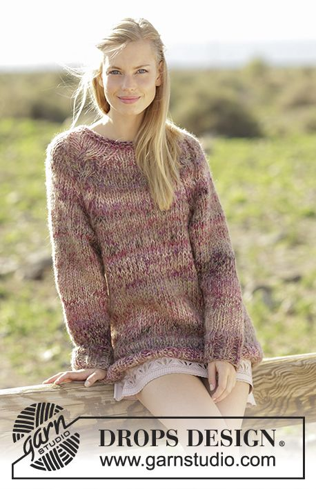 Misty Moor jumper with cables and raglan worked top down by DROPS Design Free Knitting Pattern