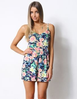 EXOTIC* PRINTED PLAYSUIT - EXOTIC* PRINTED STRAPPY V-NECK GATHERED WAIST PLAYSUIT - Jumpsuits
