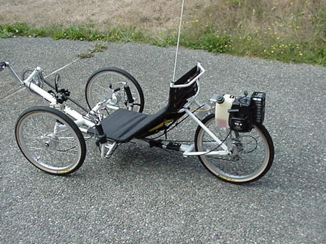 Recumbent trike with weedeater motor on it sweet diy for Recumbent bike with electric motor